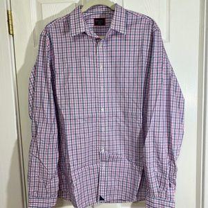 UNTUCKIt Navy/Pink Plaid Button Shirt